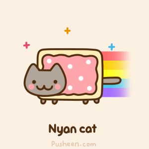 Cat Art...=^. ^=... ❤... By Artist Unknown... Nyan Cat is Pusheen's Best Friend...