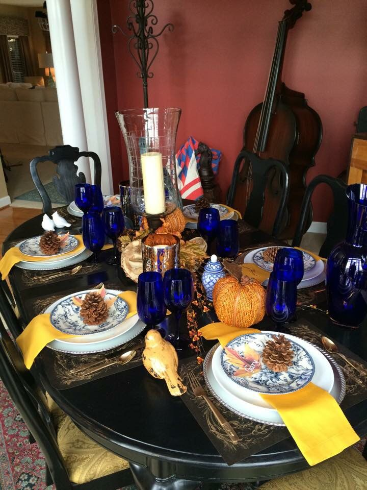 10 best Thanksgiving Table Setting Blue & Gold images on Pinterest ...