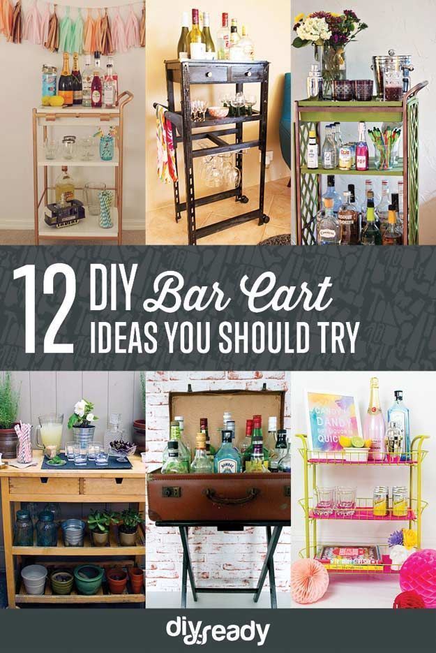 Check out 12 Amazing DIY Bar Cart Ideas! Because Every Good Home Needs A Good Bart Cart by DIY Ready at http://diyready.com/diy-bar-cart-ideas/
