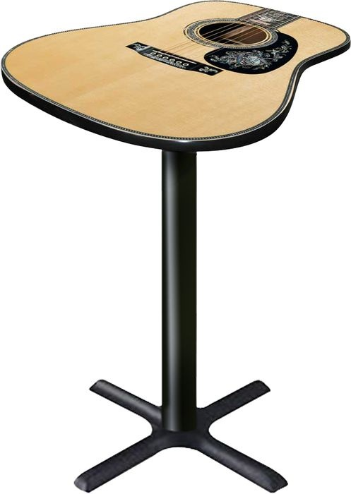 We could find an old guitar, reinforce it underneath with a piece of wood and attach it to a stand.