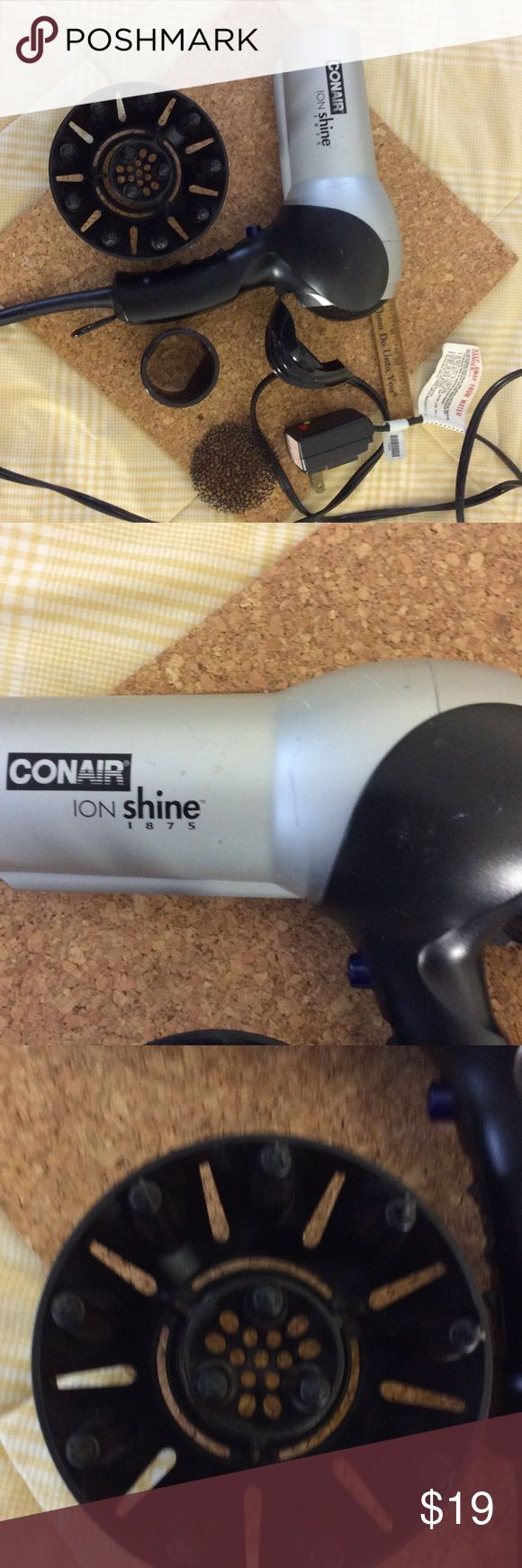 Con air hair dryer Con air hair dryer ION SHINE 1875. Works great. The filter screen has been cleaned and it comes with two attachments. All ready to take for college. conair Accessories