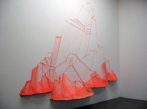 string mountain : 3D : ailischmeltz: Inspiration, Wood, Aili Schmeltz, 2008 Nails, String Art, Art Installations, Installation Art, Design