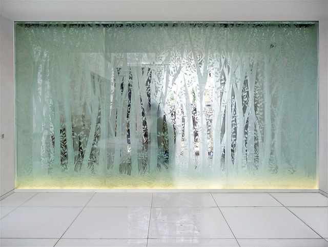 Sandblast Glass Partition Wall Treatments Glass Shower