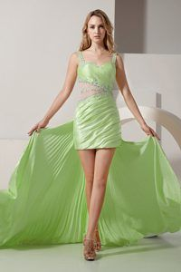 Straps Mini-length Ruched Light Green Prom Dress with Detachable Train