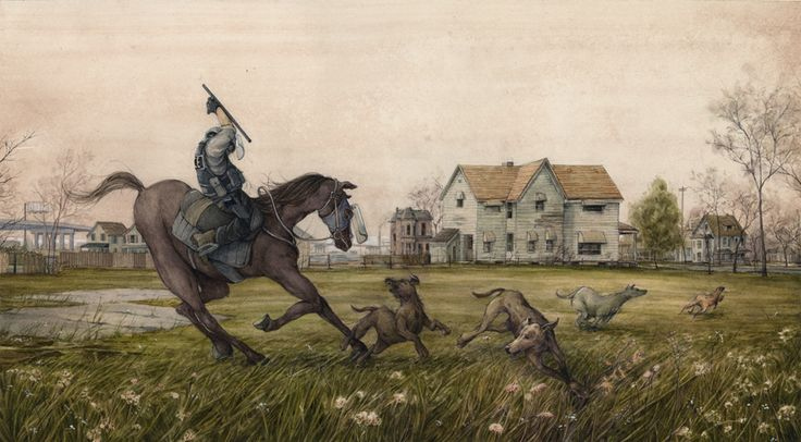 Untitled painting of stray dogs and riot horse. Doesn't the cop look like a knight in armour? Quite a medieval image with all that connotes. Blog - Pat Perry