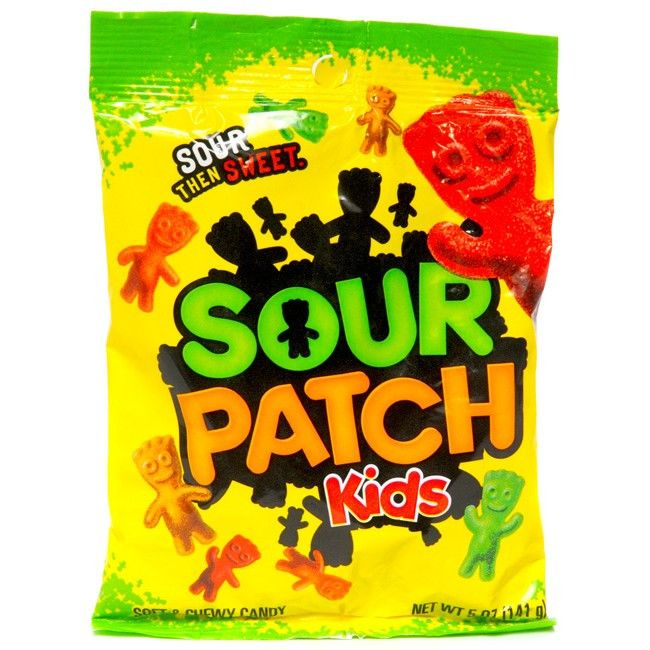 Sour Patch Kids Gummy Sour Candies Each 5 oz bag contains those kid shaped sour candies that everyone loves. Another top selling item in our store these are kids favorites for a quick super sour snack