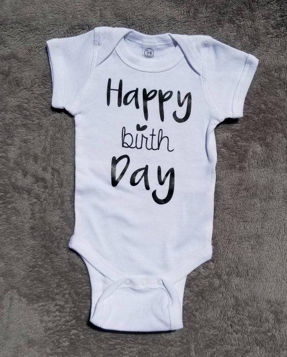 4e01771f2ecd Happy Birthday • Baby onesie • Newborn Onesie • Baby announcement ...