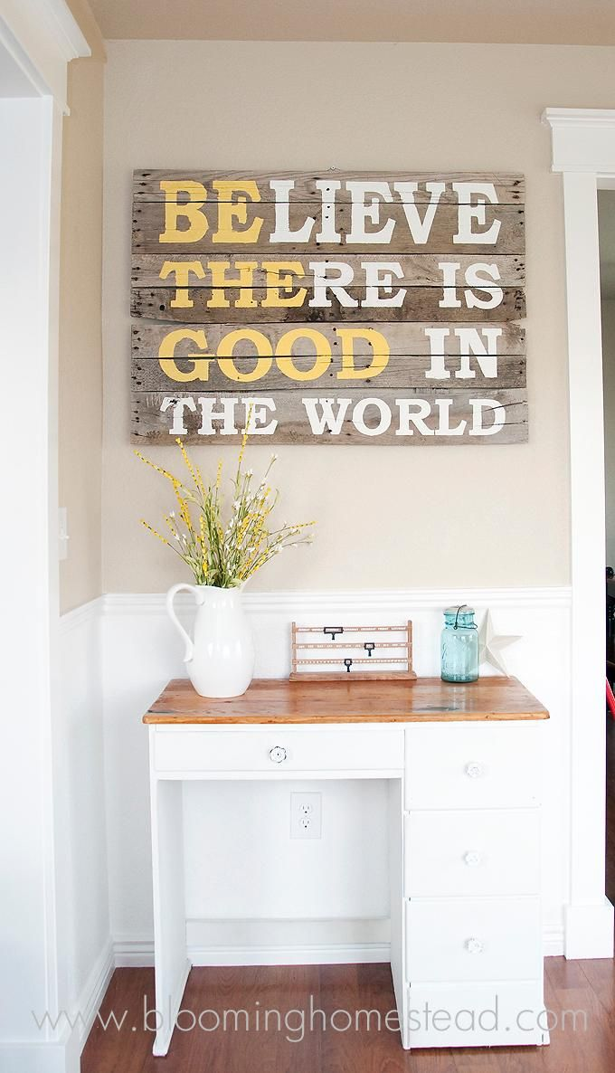 I love the pallet sign but also really like the desk. This would be great for our front entrance