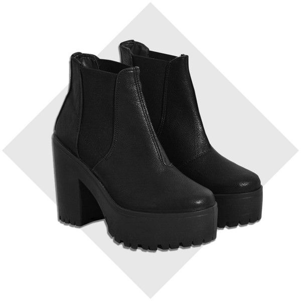 River Island Black chunky platform Chelsea boots ($80) ❤ liked on Polyvore featuring shoes, boots, ankle booties, black, ankle boots, shoes / boots, women, platform booties, black chelsea boots and black high heel booties
