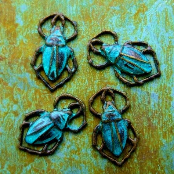 Egyptian Scarab Beetle Charms  Aged Verdigris Brass by PatinaQueen, $3.50