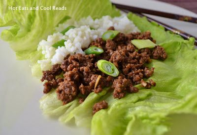 Korean Ground Beef Lettuce Wraps Recipe from Hot Eats and Cool Reads. Super easy and delicious recipe!