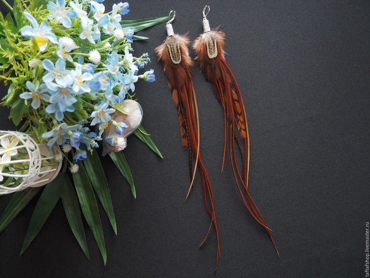 Карамельный шоколад - коричневые серьги с перьями в стиле бохо - перья, перо, серьги с перьями