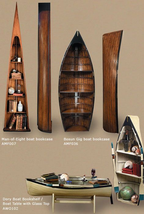 Nautical Decor Boat Bookcases And Coffee Table Nautical