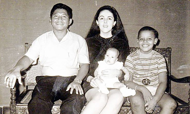 Obama's mother Ann Dunham with her second husband, Lolo Soetoro, their daughter…