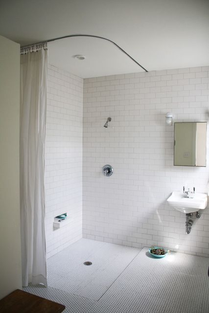 Walk In Shower - without glass inclosure like the shower curtain on rail