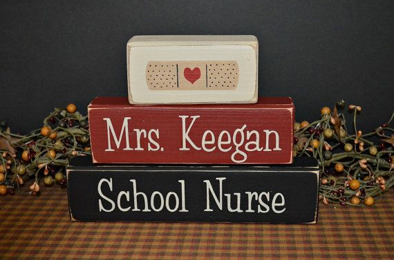School Nurse Custom Personalized wood blocks signs sign primitive by PrimitiveHodgePodge #bandaid #gift #rn