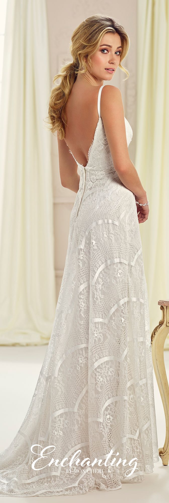 Enchanting by Mon Cheri Fall 2017 Collection - Style 217113 - sleeveless allover lace slim A-line wedding dress with V-back