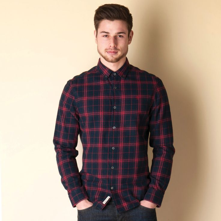 Men | Navy Red Mens Flannel Check Shirt | Get The label