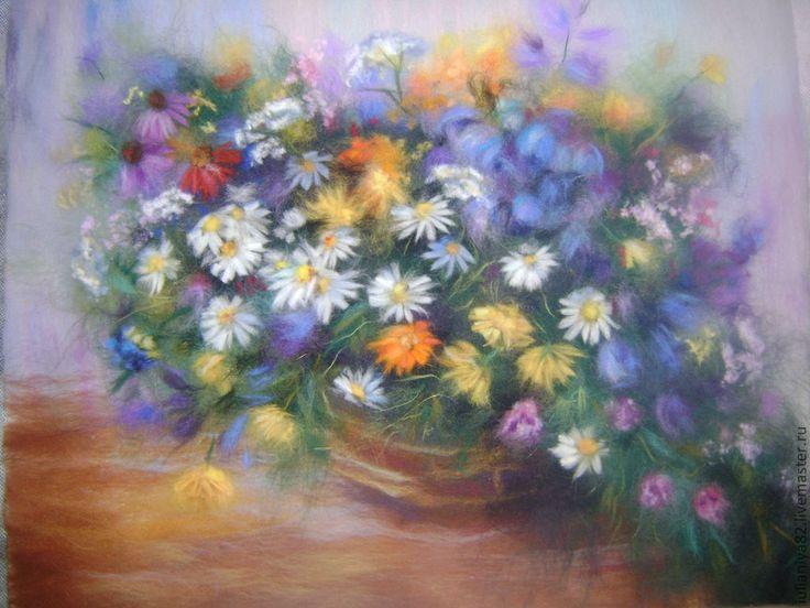 Купить Картина из шерсти. Полевые цветы. - полевые цветы, букет, деревенский стиль, для интерьера, для дачи