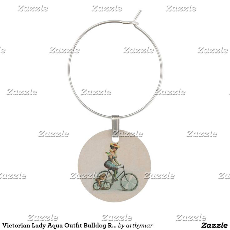Victorian Lady Aqua Outfit Bulldog Riding Bicycle Wine Charm