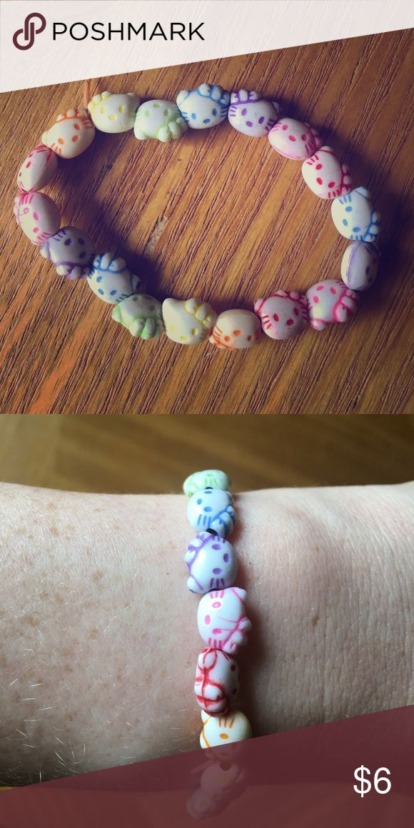 Hello Kitty Rainbow Bracelet The adorable Hello Kitty bracelet is elastic, and will fit any size 💕 Hello Kitty Jewelry Bracelets