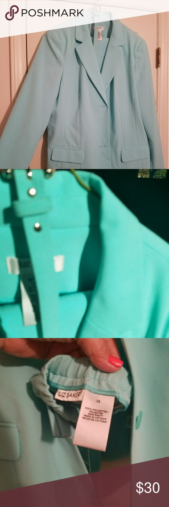 Liz Baker Mint Pant Suit Nwt Beautiful Mint color.  Purchased from JCPenny by my mother but never worn.  Pants have elastic waist size 14 reg.  Blazer is 16 tall. liz baker Other