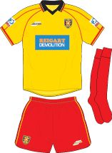 Albion Rovers of Scotland home kit for 2001-02.