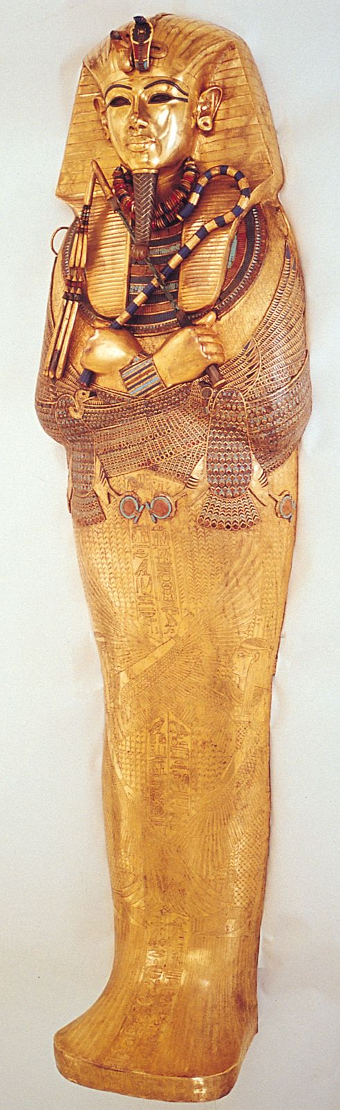 King Tut: Nesting Shrines, a Sarcophagus, and Coffins. Written by art historian Monica Bowen.  Very helpful! Tutankhamun's tomb, innermost coffin. New Kingdom, 18th Dynasty. c. 1323 B.C.E. Gold with inlay of enamel and semiprecious stones.