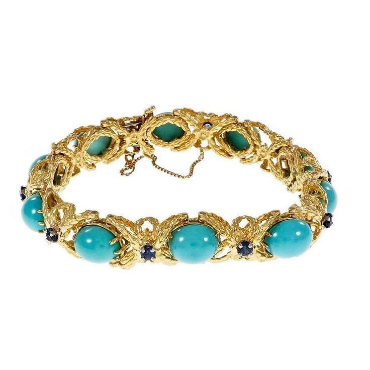Natural Persian Turquoise Sapphire Gold Bracelet   1stdibs.com