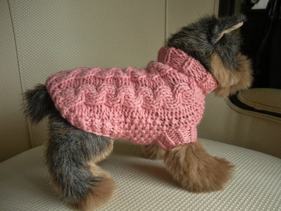 Merino Cashmere Cable Knit Dog Sweater by bychancedesigns on Etsy, $27.00