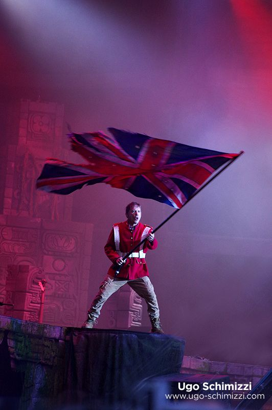 """BRUCE DICKINSON, """"THE TROOPER"""" IRON MAIDEN, BOOK OF SOULS WORLD TOUR 2016 -Not sure about this one, was placed in the IMFCF Tour Spoiler's Thread II and posted by user Eddie's Bar, to a string of snaps identified as being from Download Paris.- Photographer Ugo Schimizzi"""