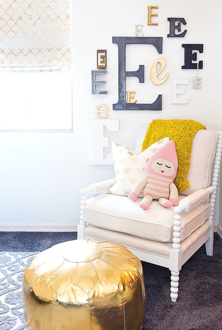 Caitlin Wilson Gold Bows Pillow and Gold Scallop Roman Shades | Featured in Maggie Holmes little Girls Room