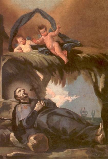 Franciscus Xaverius - ca 1800. Olieverf op linnen. Spanje, Museo de Zaragoza Eenzame dood van Franciscus Xaverius op het eilandje Sancian vlak voor de Chinese kust.