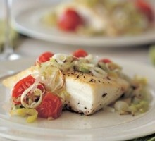 Halibut with Tomatoes and Leeks Recipe