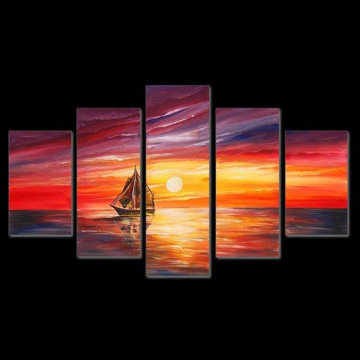 Schilderijen Schilderij eenzame boot 4614 Kunst