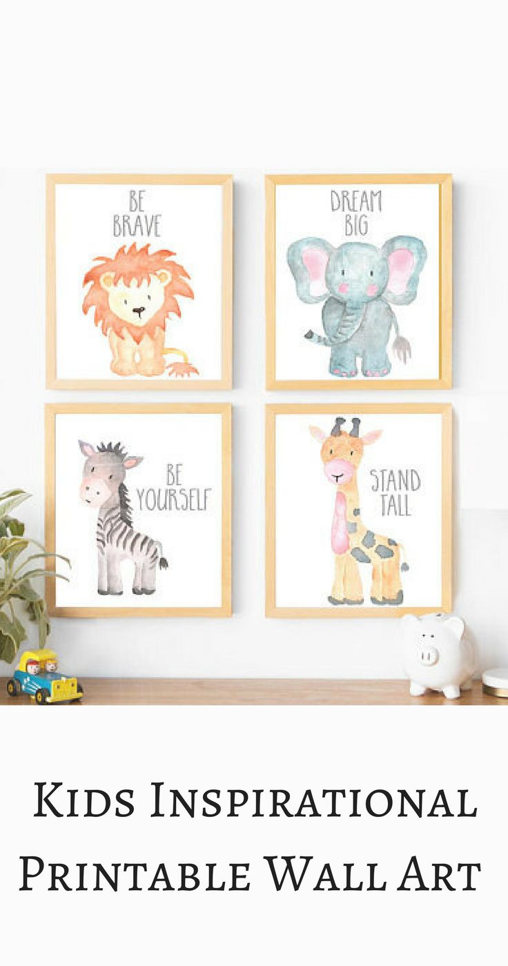 I love this inspirational animal printable wall art gallery, perfect for a little boys' nursery. Be brave, be yourself, stand tall,dream big! Boy Nursery Wall Art, Boy Nursery Decor, Baby Animals, Gray Nursery, Neutral Nursery, Elephant, Lion, Giraffe, Zebra, Nursery Decor, Boy Nursery Ideas, modern nursery, mature nursery, instant download . #afflink