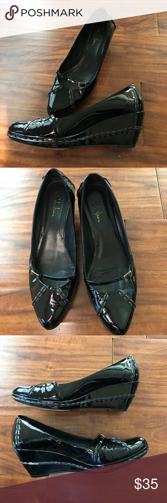 Cole Haan Mary Jane Patent Black Wedges, size 8 Beautiful patent leather Cole Haan wedge Mary Janes. Soles have wear, but rest of shoe is in excellent condition! Cole Haan Shoes Wedges