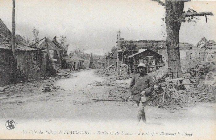1916, Battle of the Somme, A part of Flaucourt village. 1916, bataille de la Somme, Une partie du village Flaucourt.