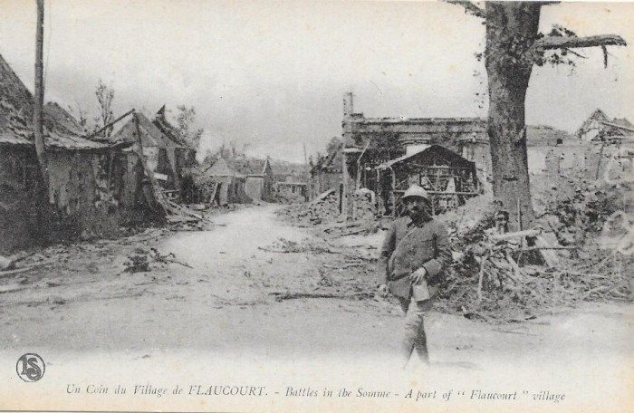 1916, Battle of the Somme, A part of Flaucourt village. 1916, bataille de la Somme, Une partie du village Flaucourt.