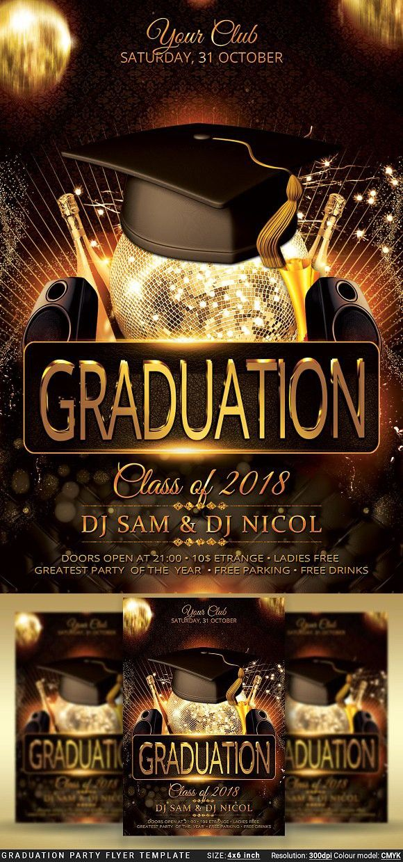 Graduation Party Flyer Template Prom Education Design Party