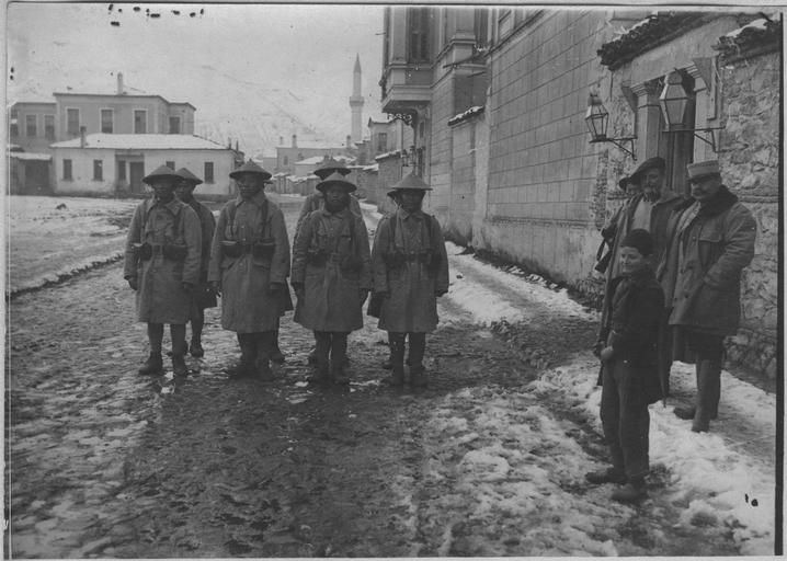 WWI - Triple Entente: Forces: Indo-Chinese soldiers in Koritza, Ukraine - Eastern Front. Jan 1917.