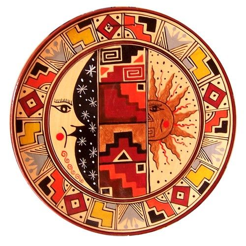 peruvian art | Handpainted Cusco Decorative plate. The geometric designs imitate ...