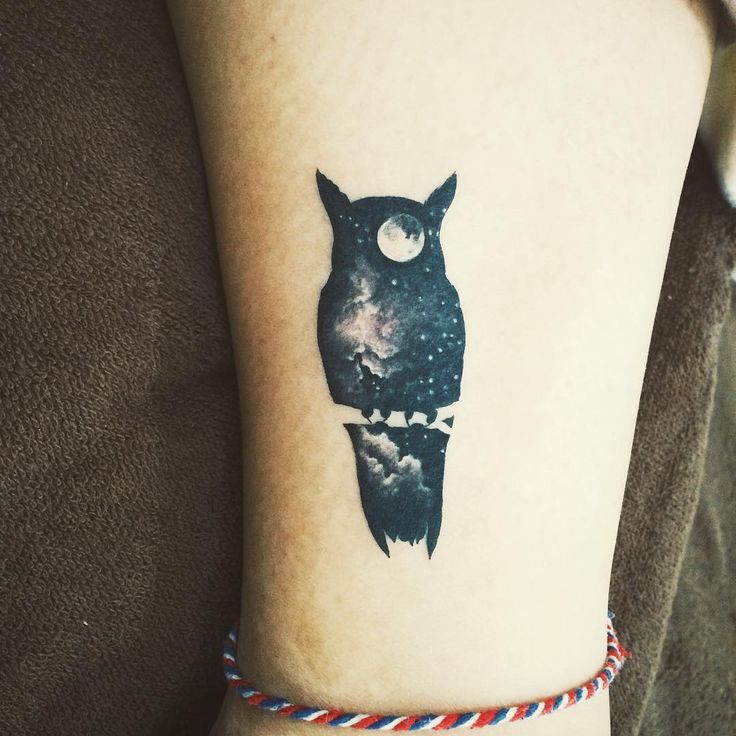 Owl galaxy night sky moon tattoo