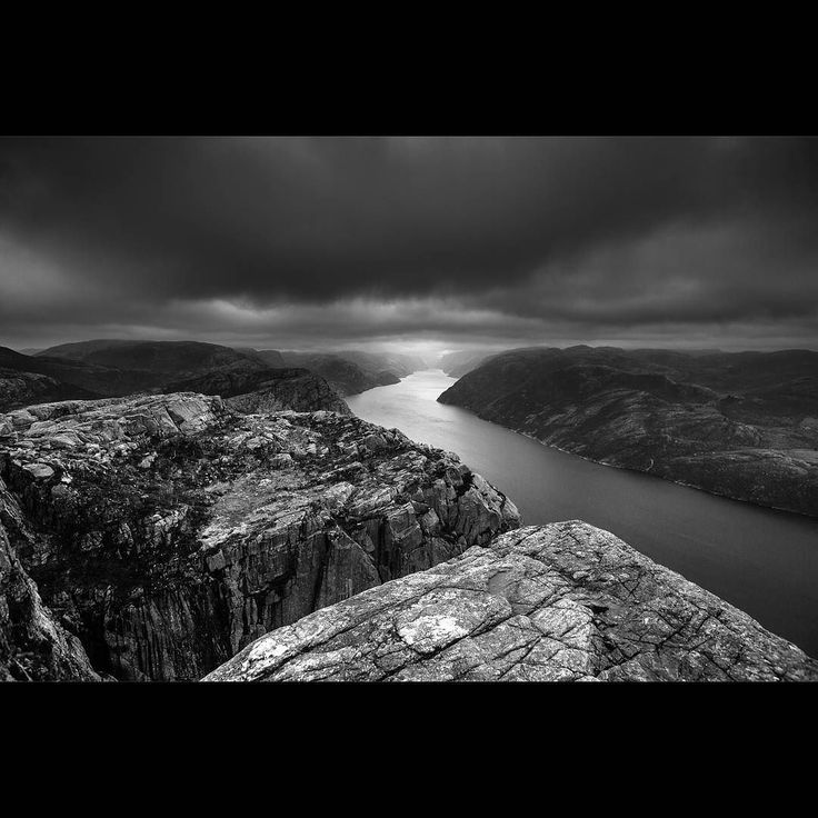 #blackandwhite version of the view from #pulpitrock #norway If you are looking for colour version click this link. http://ift.tt/2rNBWpp  Like and follow my instagram gallery @aconfidentphotographer to see my travel pictures.  Shot with #canon 5d m3  canon 16-35 f2.8L II.