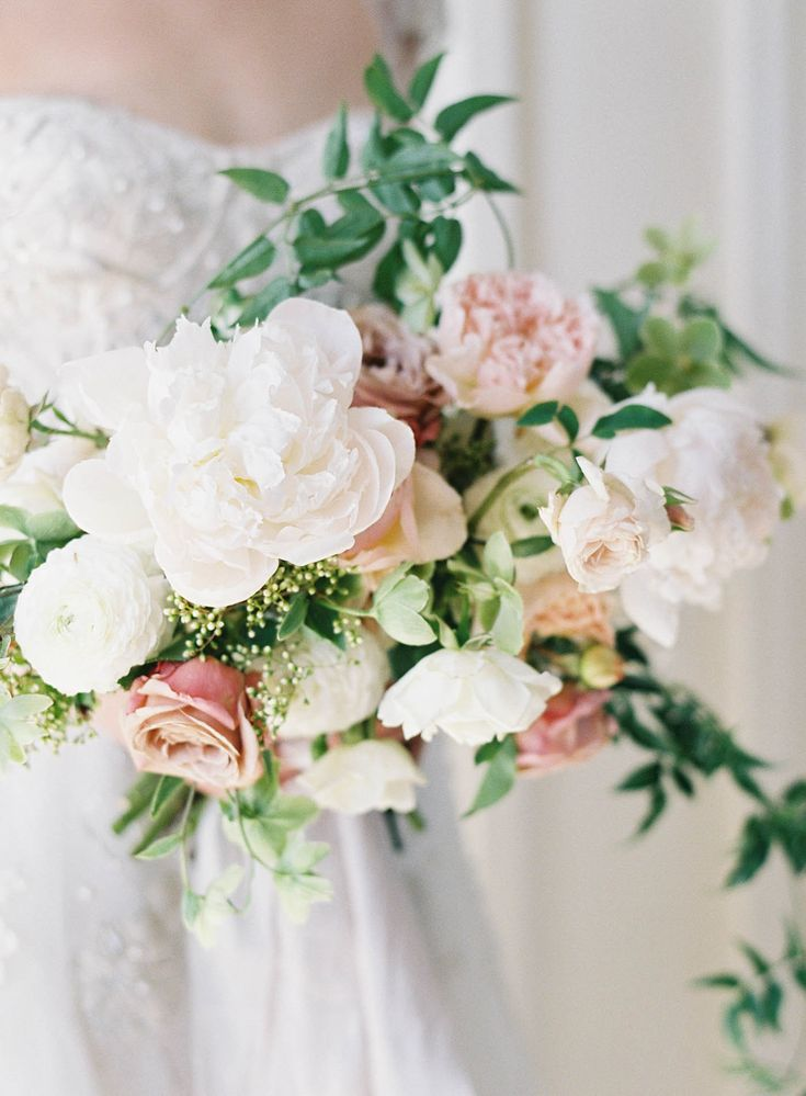 white peony and blush garden rose bouquet