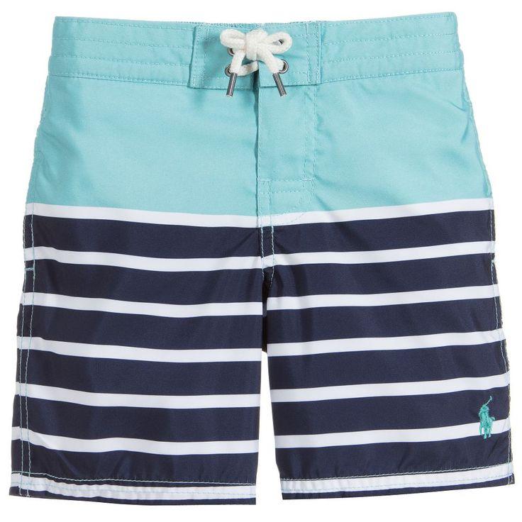 Polo Ralph Lauren Boys Green & Navy Blue Swim Shorts available @Childrensalon.  #holiday #boys #swimwear #stripes