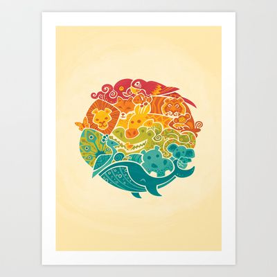 Animal Rainbow Art Print by Waynem - $18.00