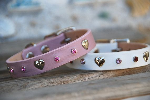 Sweetheart Pink Leather Dog Collar with Hearts & Pink Crystal Rivets Bohemian Southwestern Boho Cute Leather Dog Collar