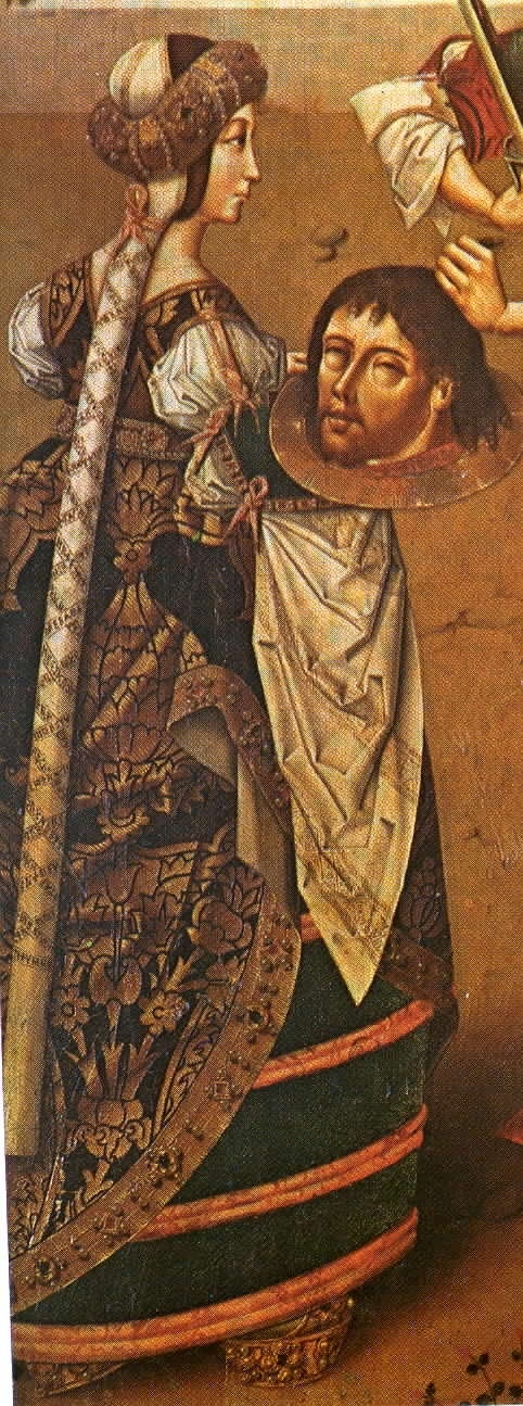 the beheading of St. John the Baptist - 1400s Spanish. Early Spanish farthingale, vertugado