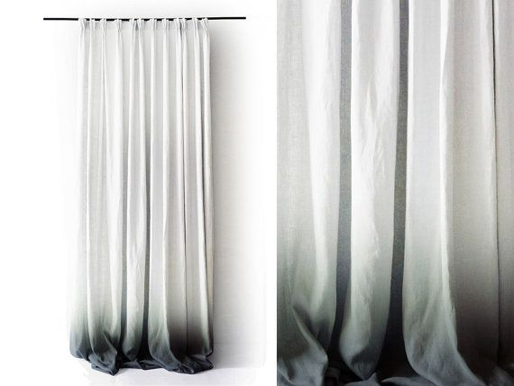 Ombre linen drapes | Grey fade to white | Pinch pleat window curtain | Lovely Home Idea